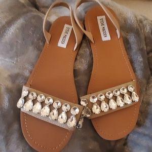 steve madden 9 flat bling bling sandals good cond